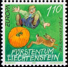 Pompoen postzegel Liechtenstein