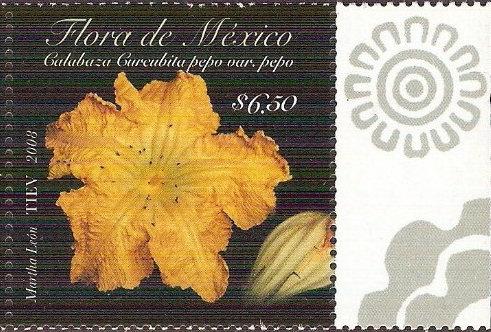 'Bloem van pompoen postzegel Mexico
