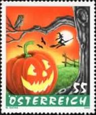 Halloween postzegel Oostenrijk